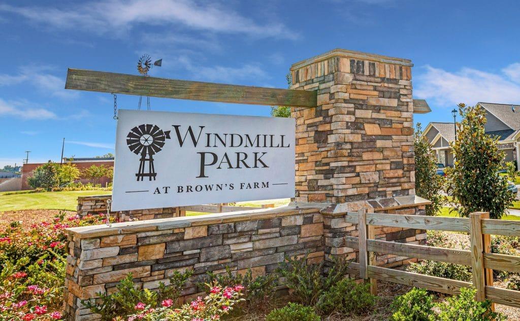 Windmill Park entrance monument