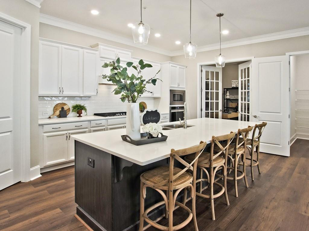 kitchen area with island